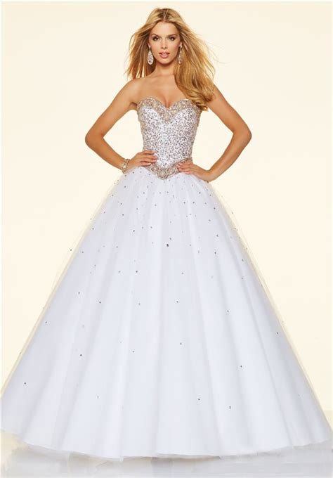 White Gown Tulle princess gown strapless white tulle beaded prom dress