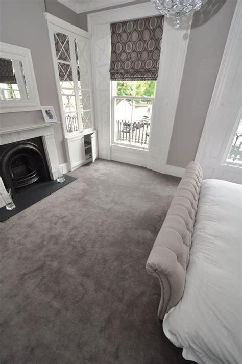 Elegant cream and grey styled bedroom. Carpet by Bowloom