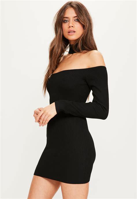 Clq Dress Mini Black missguided black choker ribbed bardot mini jumper dress in black lyst