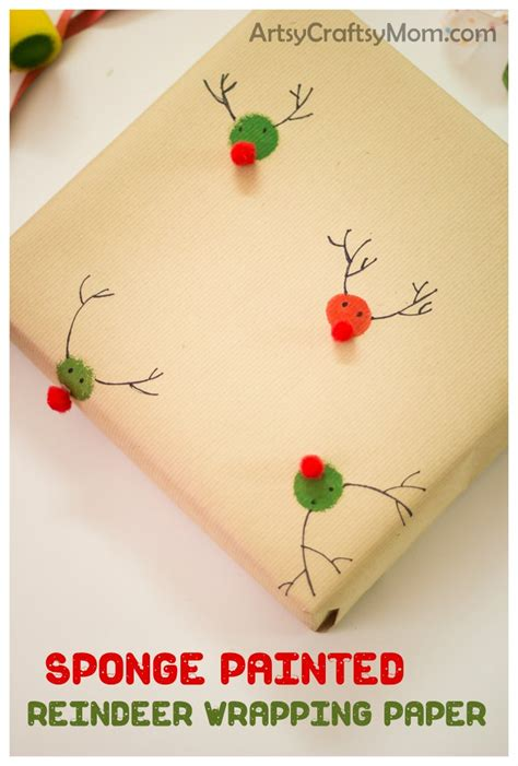 sponge painted reindeer wrapping paper artsy craftsy mom