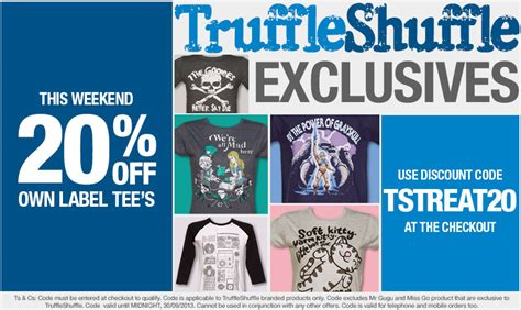 a for all time discount code sale now on 20 truffleshuffle branded clothing