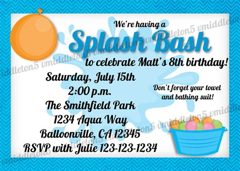 free printable birthday invitations water splash bash water birthday party invitation girl and boy