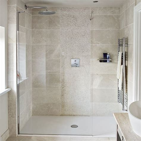 Bathroom Tiles Ideas Uk by Neutral Stone Tiled Shower Room Decorating Housetohome