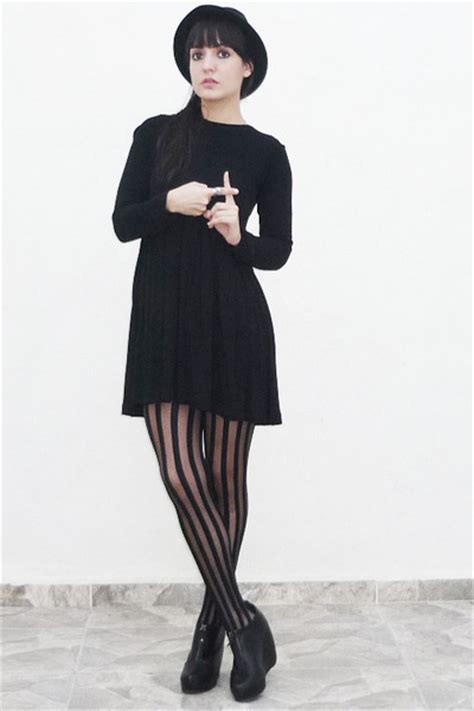 black dress with black tights images