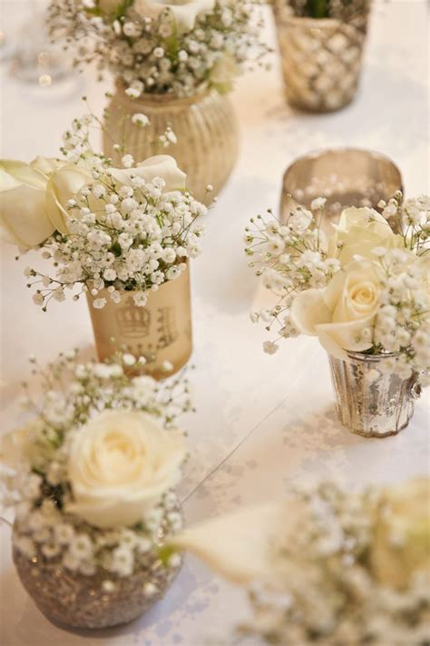 Flower Wedding Table Centerpieces by Classic Chic Simple Chagne Luxe Wedding