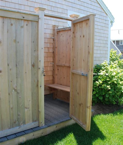 Outdoor Shower Doors Cedar Bench