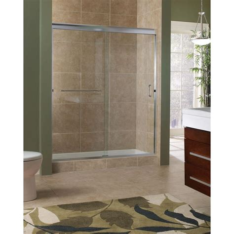 Glass Sliding Shower Door Foremost Marina 60 In X 76 In H Semi Framed Sliding Shower Door In Brushed Nickel With 3 8 In