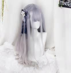 Wig Cowok Korea Harajuku 04 purple grey gradient harajuku wig 183 fashion kawaii japan korea 183 store powered