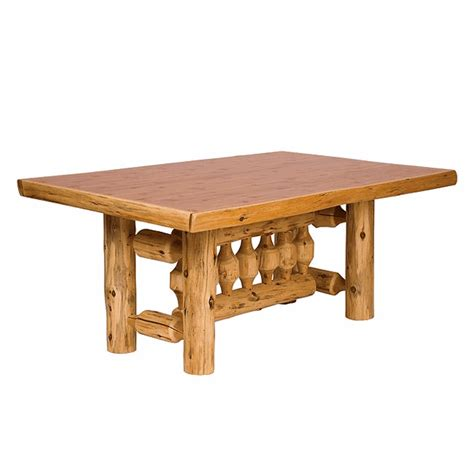 8 Foot Dining Table Cedar Log Standard Finish Rectangle Dining Table 8 Foot