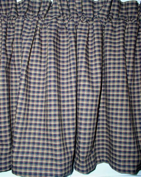 homespun curtains americana plaid homespun valance country primitive curtains