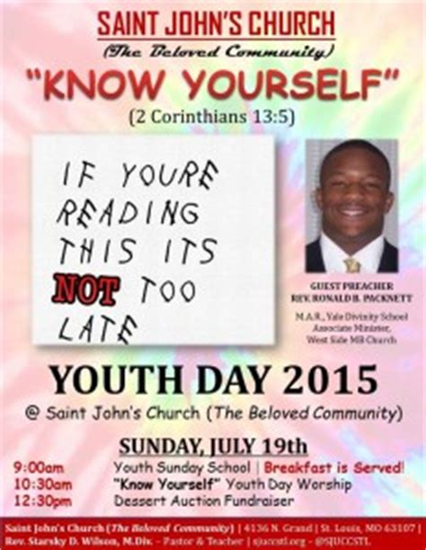 youth day invitations flyers youth day 2015 quot know yourself quot saint john s united