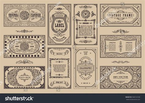 retro photo cards template vintage set retro cards template greeting stock vector
