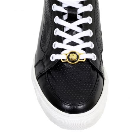 mens black sneakers with white soles buy black casual shoes for by versace uk at togged