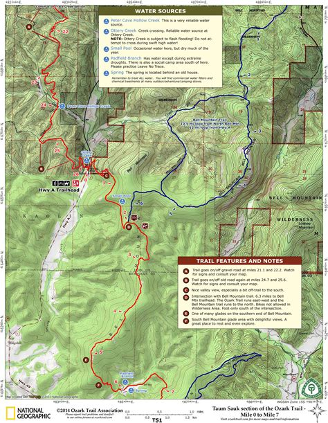 ozark trail map ozark trail taum sauk section hwy a bell mountain to