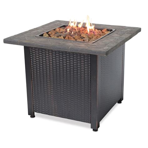 Shop 32 In W 30 000 Btu Brown Steel Liquid Propane Lp Gas Firepits