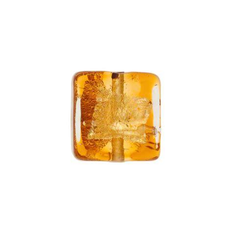 P Square Tosca murano glass topaz tosca square gold splashes 12mm