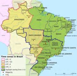 Brazil Time Zone Map by Brazil Time Zones Chart
