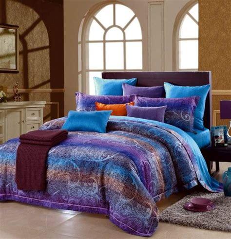 Blue And Purple Bedding Sets Blue Purple Paisley Stripe Cotton Comforter Bedding Set King Size Satin Duvet