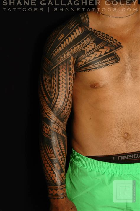 polynesian chest tattoo shane tattoos polynesian sleeve chest tatau