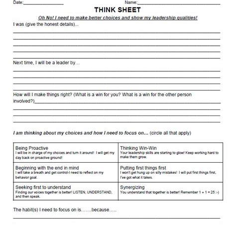 7 Habits For Worksheets