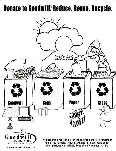 recycle coloring pages preschool kid s corner goodwill industries of the valleys
