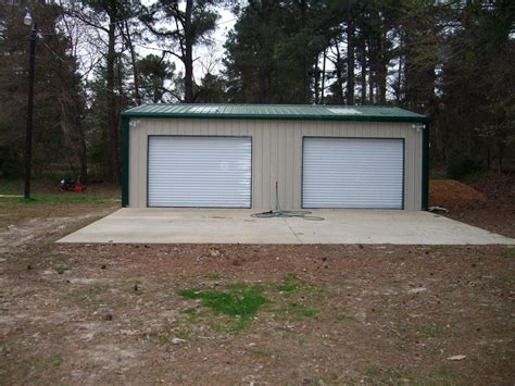 Metal Garage Shed Steel Metal 2 Car Garage Building Kit 576 Sq Workshop Barn