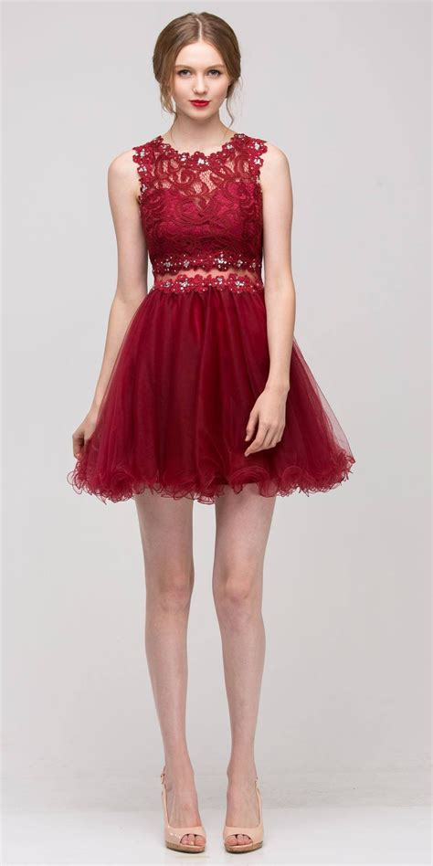 Mock 2 Piece Burgundy Dress Short Poofy Skirt Lace Top