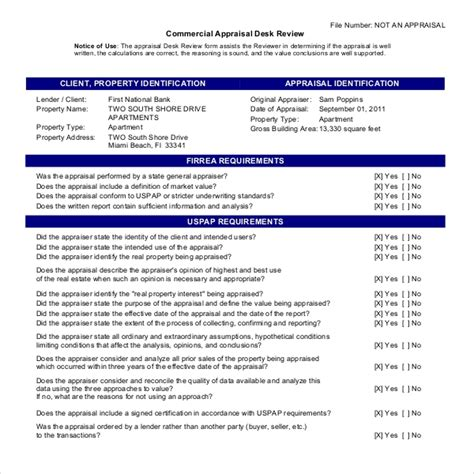 Commercial Appraisal Review Template Commercial Appraisal Review Form 4002 8 Precautions You