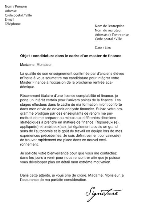 Lettre De Motivation Emploi Banque Finance Lettre De Motivation Master Finance Mod 232 Le De Lettre
