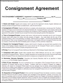 free consignment agreement template consignment contract template free printable documents