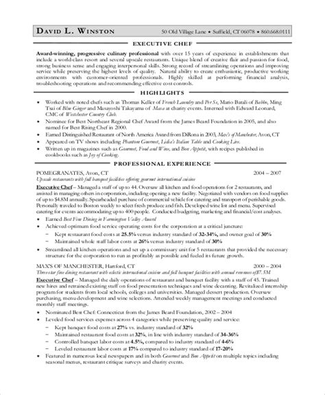 Culinary Resume Sle by Career Objective For Chef 28 Images Sous Chef Resume