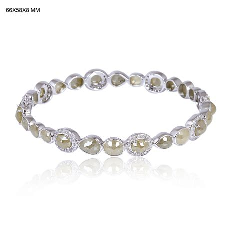 18k solid white gold bangle bracelet 16 02ct