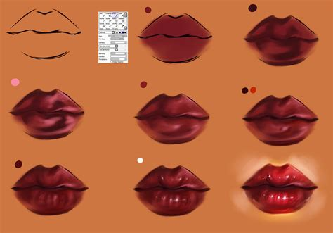 Watercolor Lips Tutorial | lips step by step tutorial brush settings by ryky on