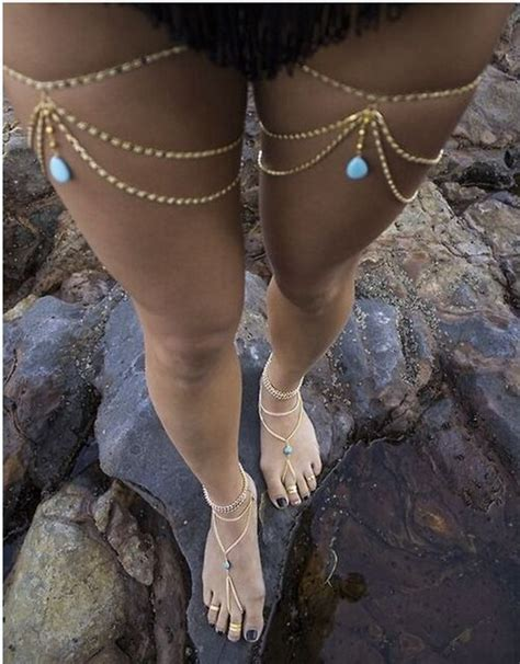 how to make leg chain jewelry 2016 new fashion gold plated turquoise tassel multilayers
