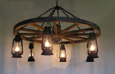 Wagon Wheel Light Fixture Dxww026 Wagon Wheel Chandelier W Fashioned Lanterns 1 Tier