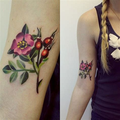 watercolor tattoo sasha unisex flores con frutos by unisex tattoos and