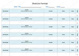 Shot List Template Word Shot List Template 6 Free Shot Lists For Word And Excel 174