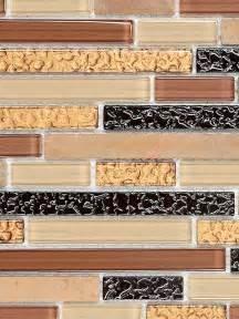 brown copper glass sandstone mix backsplash tile