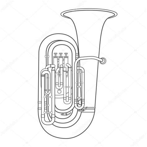 Instruments Kontour dunkle kontur tuba musik instrument vektor illustratio