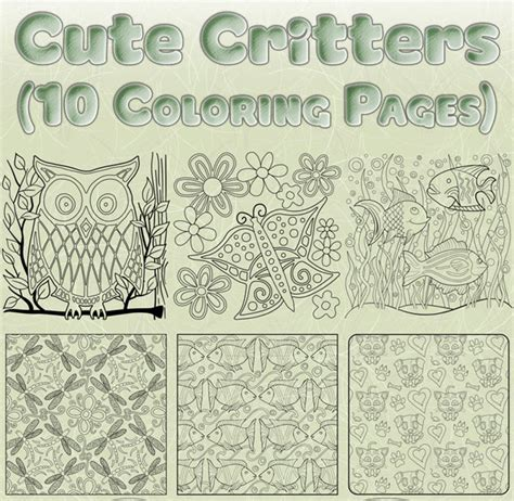 nature inspired coloring pages cute critters coloring bundle 10 nature inspired