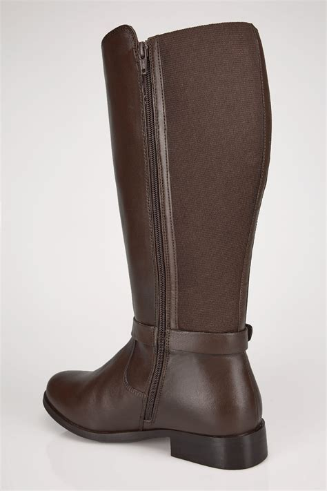 Check Balance Boots Gift Card - brown leather xl calf riding boots with stretch panels buckle in true eee fit sizes