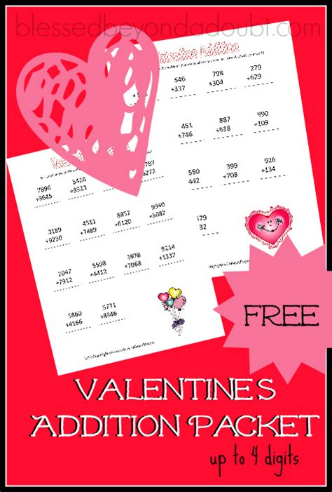 free valentines math pack 14 pages free homeschool