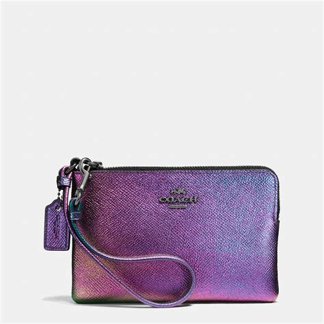 Coach Crossgrain Corner Zip Small Wristlet Purple Origi Berkualitas coach corner zip wristlet in hologram leather in blue lyst