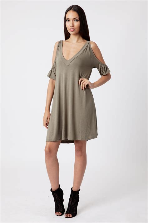 cold shoulder swing dress khaki cold shoulder swing dress dresses modamore
