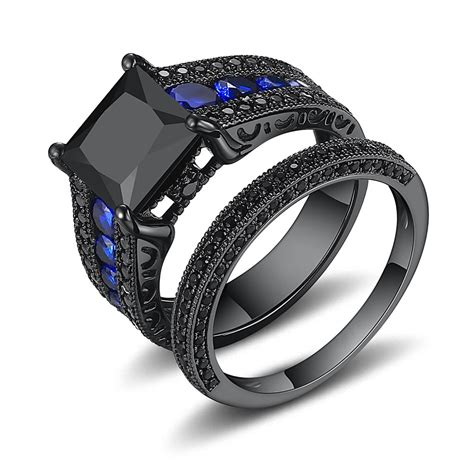 Black Engagement Rings by Black Princess Cut Black 925 Sterling Silver Engagement