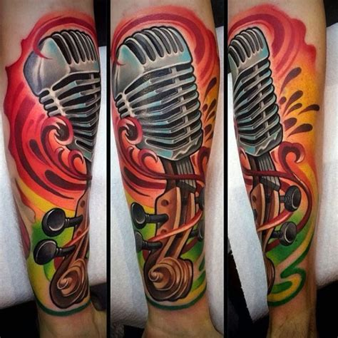 microphone retro tattoo cartoon like colored vintage microphone with violin tattoo