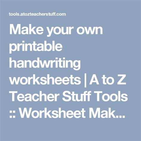 create your own handwriting worksheets for kindergarten