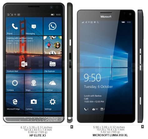 Hp Microsoft Lumia 950 windows phone flagship comparison hp elite x3 vs lumia 950 xl