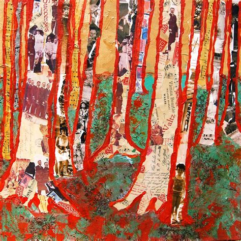 decor painting modern abstract tree art wall decor art collage painting