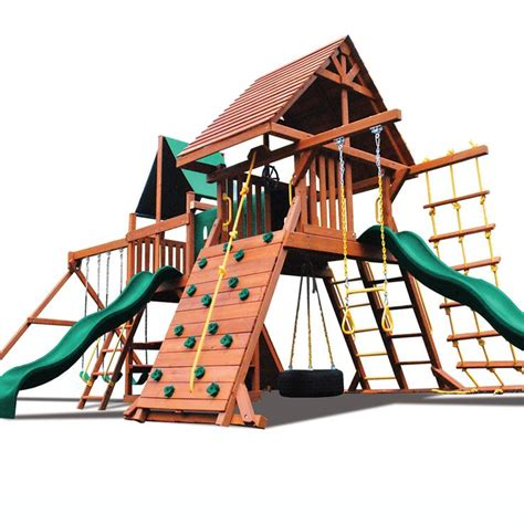 wooden swing sets under 500 superior play systems original double zinger wooden swing set